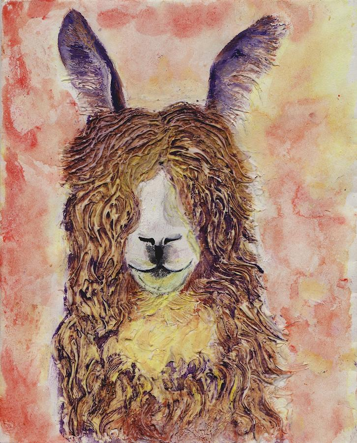 Happy llama painting by carol selchert for Happy color spray paint price