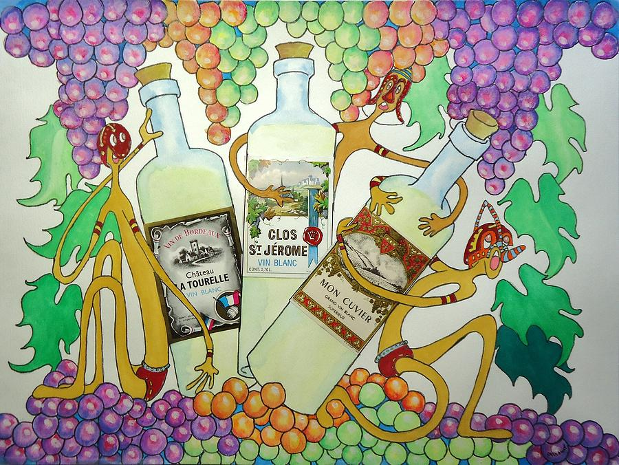 Grapes Painting - Happy People With Wine by Glenn Calloway