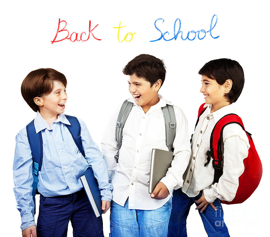 Back To School Photograph - Happy Schoolboys by Anna Om