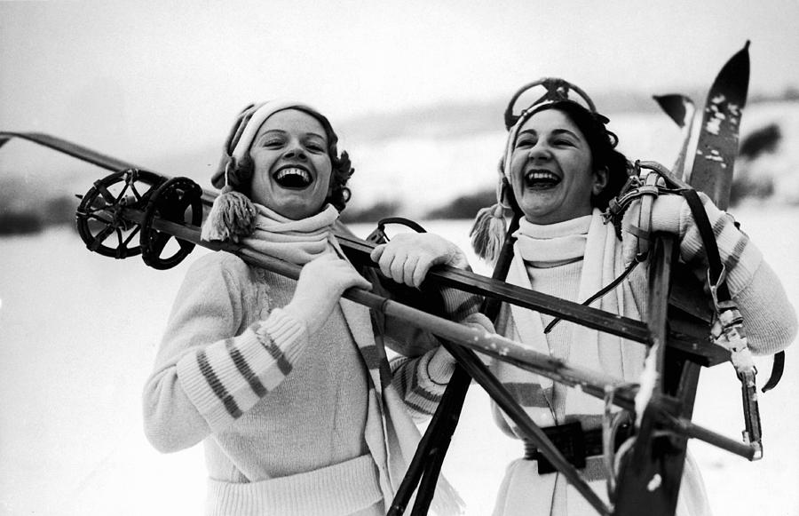 Adults Only Photograph - Happy Skiers by Fox Photos