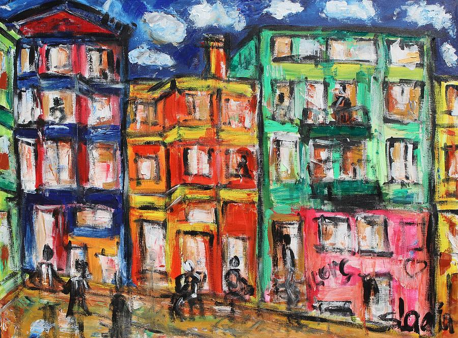 Cities Painting - Happy Street by Sladjana Lazarevic