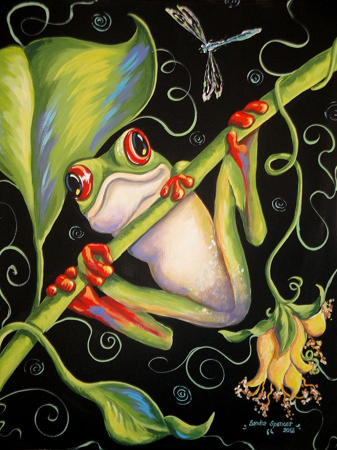 Green Painting - Happy Thoughts by Sandra Lett