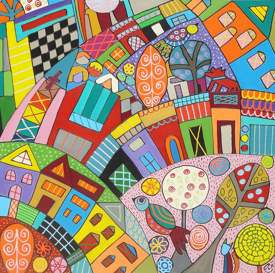 Happy town painting by elizabeth langreiter for Happy color spray paint price