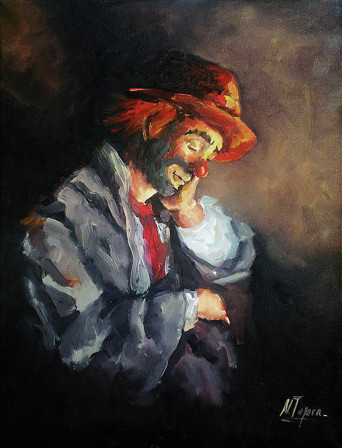 Clown Painting - Happy While He Dreams by Natalia Tejera
