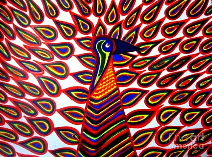 Peacock Painting - Happy Wings by Maneesh  Kumar