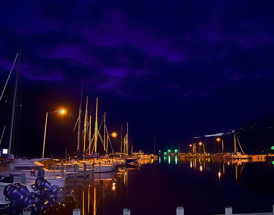 Blue Photograph - Harbor Nights by Kelly Reber