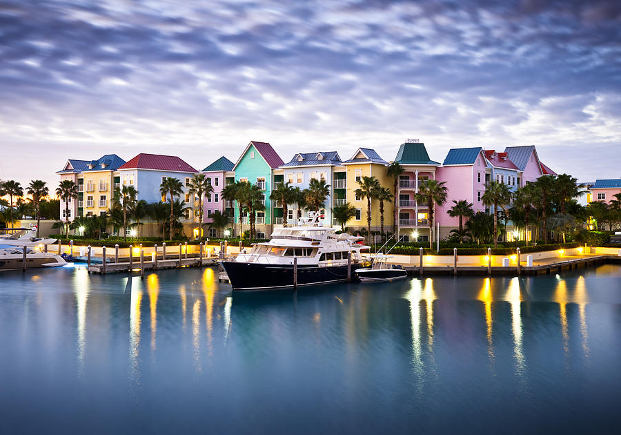 Paradise Island Photograph - Harborside Resort At Dawn - Paradise Island Nassau Bahamas by Dave Allen