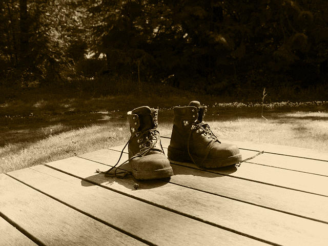 Work Boots Photograph - Hard Days Work by Kym Backland
