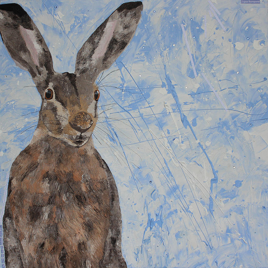 European Brown Hare Mixed Media - Hare In A Snowstorm  by Claire  Milner