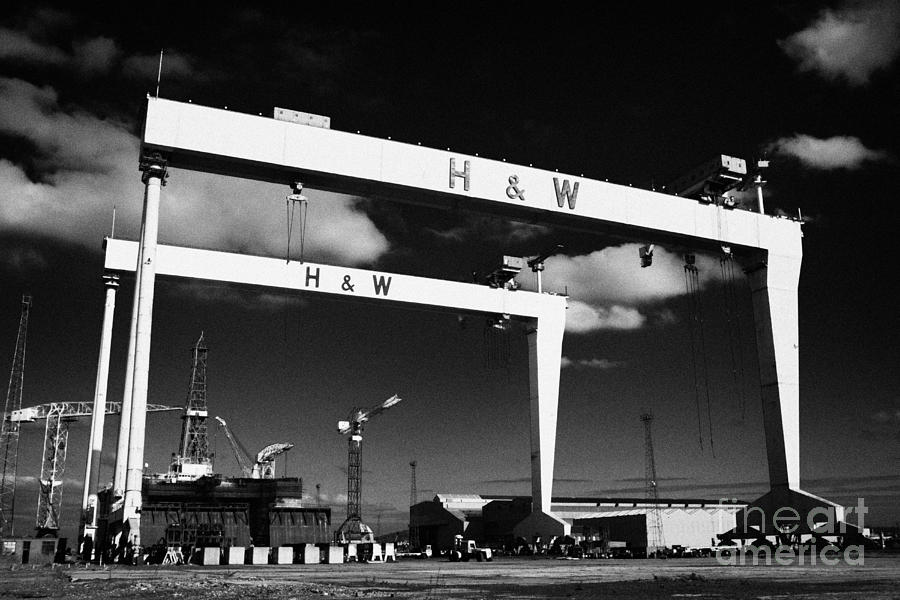 Harland photograph harland and wolff shipyard cranes belfast samson goliath by joe fox
