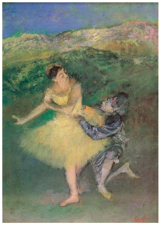 Dance Painting - Harlequin And Colombine by Edgar Degas