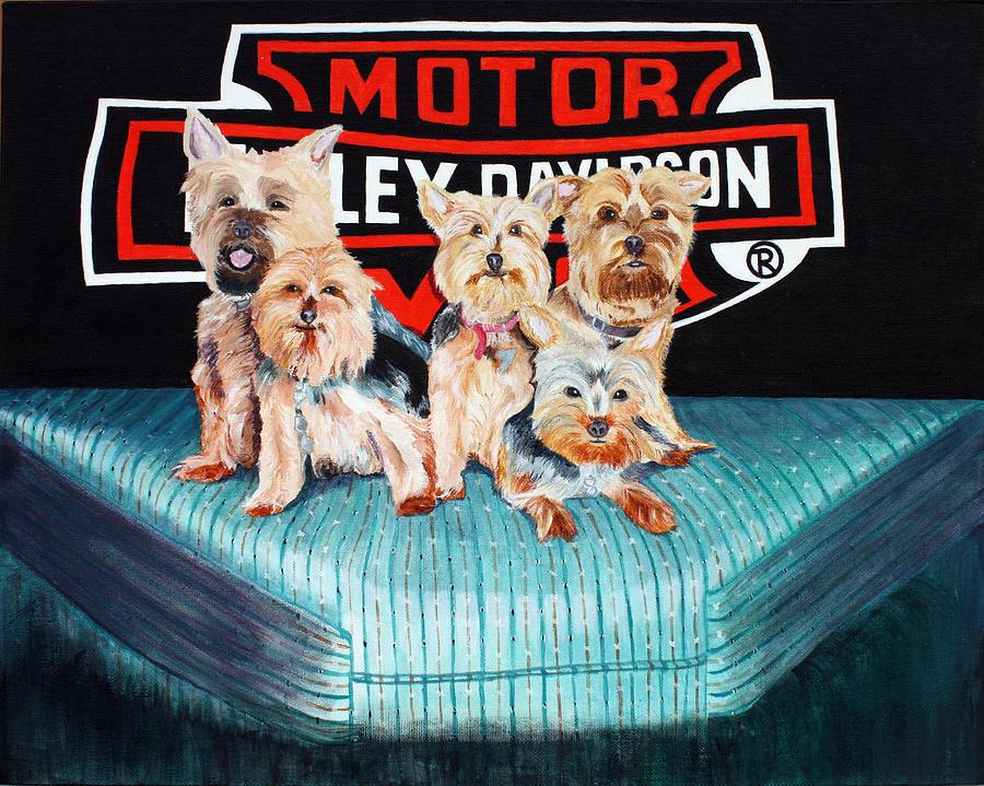 Harley Dogs Painting by Carolyn Ardolino