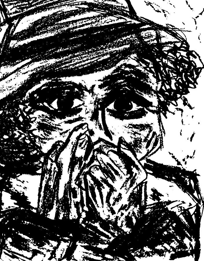 Black Charcoal Painting - Harmonica Blues Player by Peggy Leyva Conley