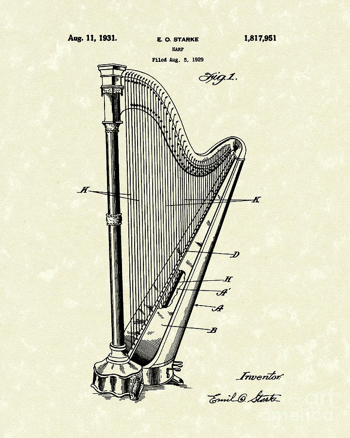 Starke Drawing - Harp 1931 Patent Art by Prior Art Design
