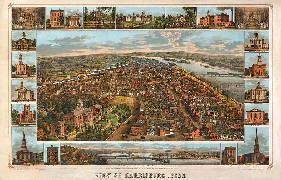 Panoramic Map Digital Art - Harrisburg Pennsylvania 1855 by Donna Leach
