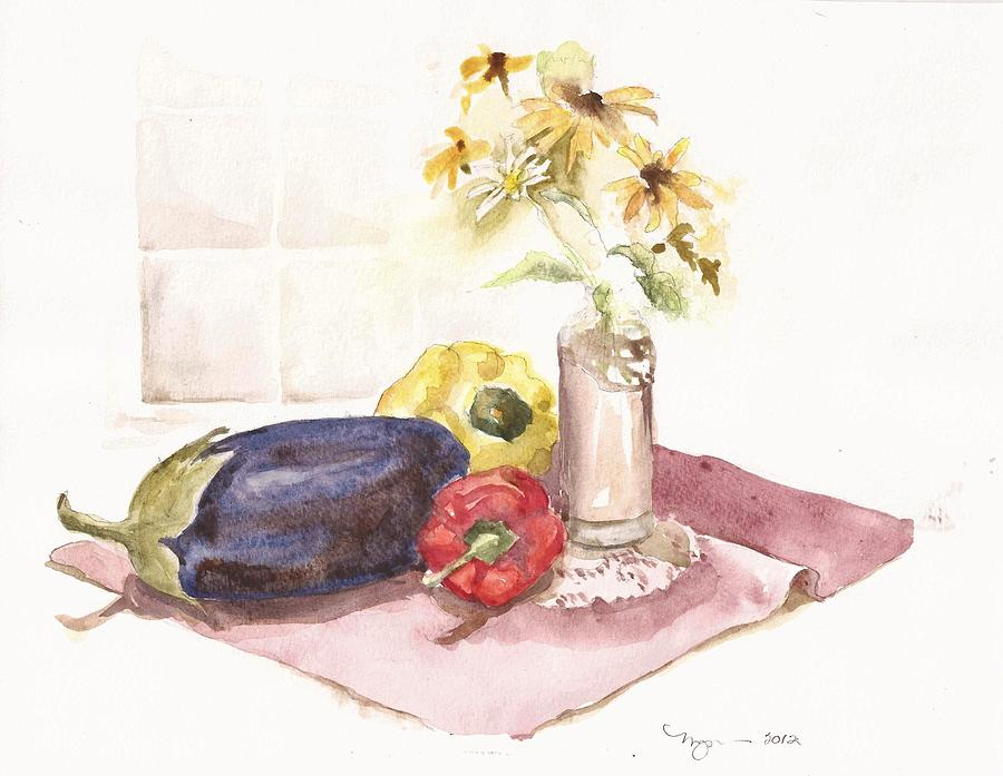 Watercolor Painting - Harvest And Flowers by Marilyn Madison