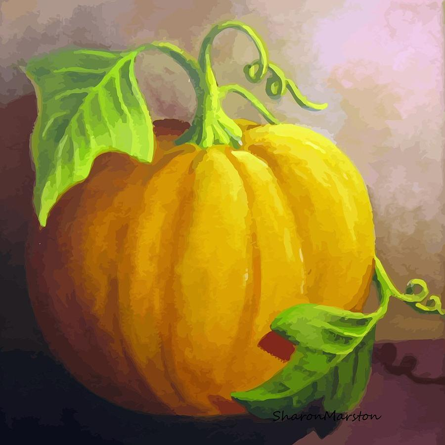 Pumpkin Painting - Harvest Prize by Sharon Marcella Marston