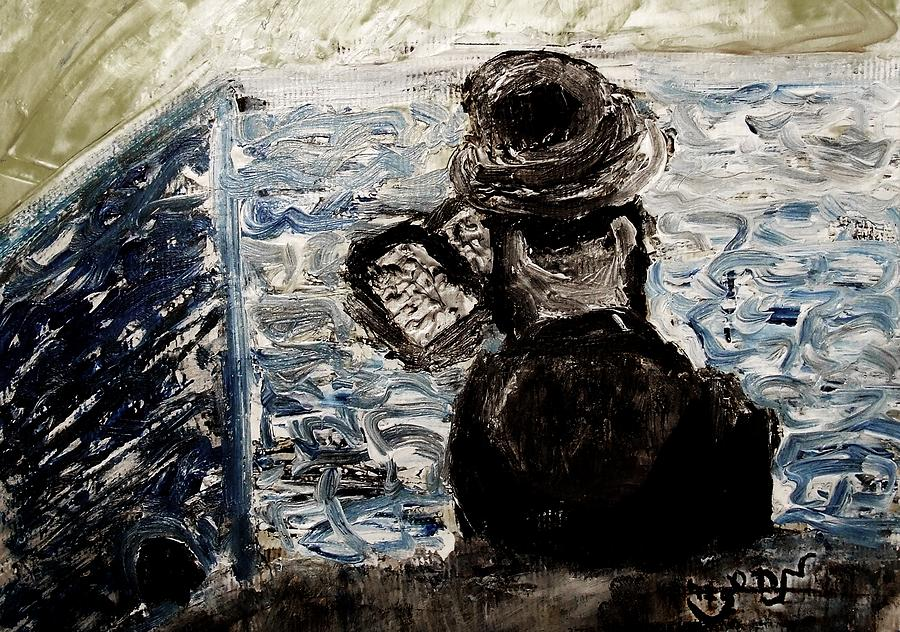 Chassid Painting - Hassid Rabbi Praying At Kotel Western Wall Israel Jerusalem Gold Daven Religious Jewish Cultural by M Zimmerman