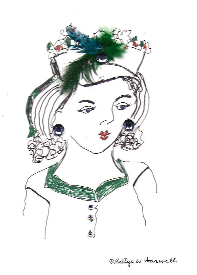 Pen Drawing Mixed Media - Hat Lady 10 by Bettye  Harwell