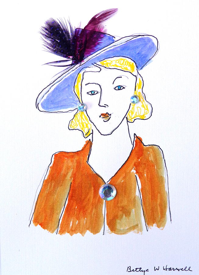 Feathers Mixed Media - Hat Lady 13 by Bettye  Harwell