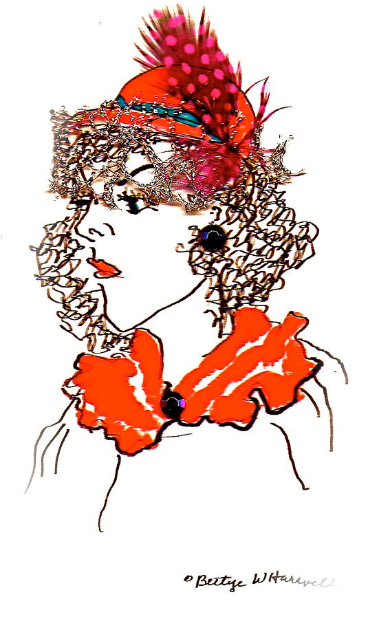 Red Hat Drawing - Hat Lady 7 by Bettye  Harwell