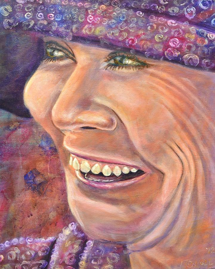 Woman Painting - Hat Lady by Bob Rowell