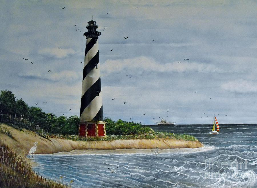 Cape Hatteras Painting - Hatteras Lighthouse by Sandy  Hurst