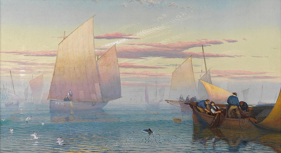 Seas Painting - Hauling In The Nets by JB Pyne