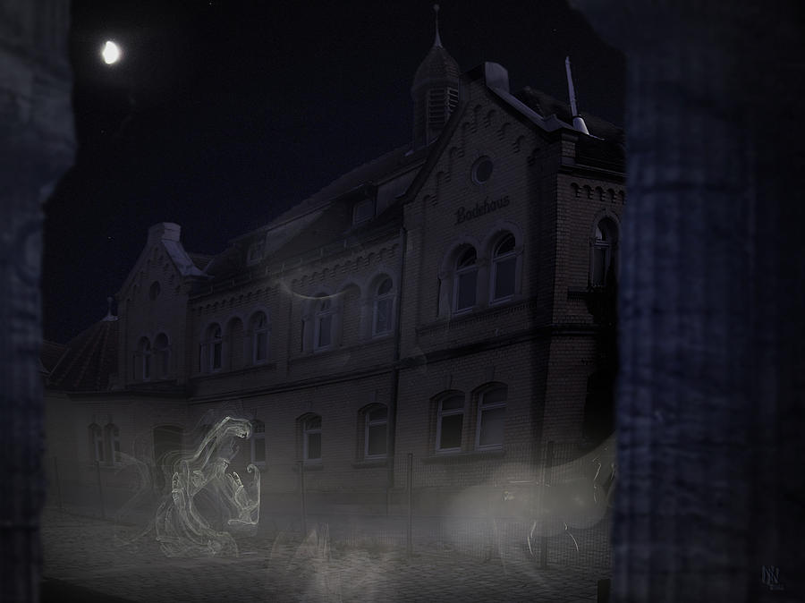 Scary Digital Art - Haunted House by Nafets Nuarb