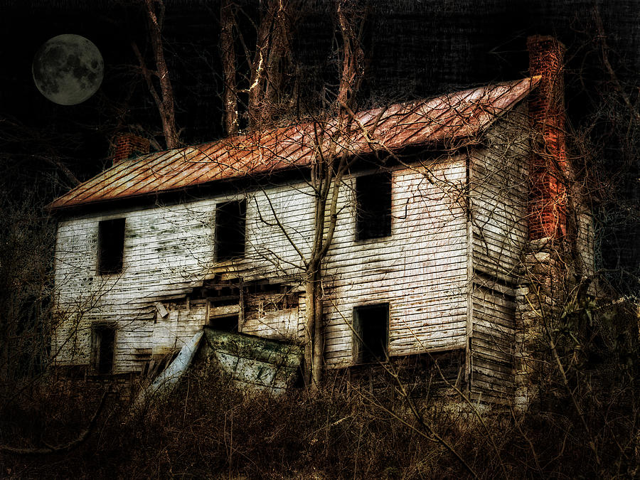 Old House Photograph - Haunted House On The Hill by Kathy Jennings