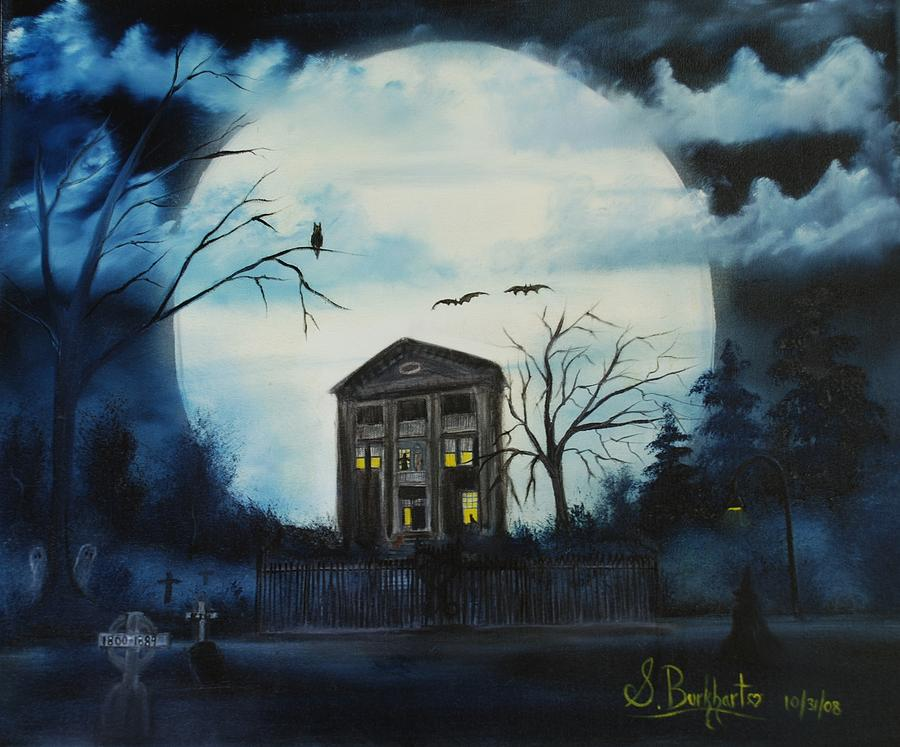 Haunted House Painting - Haunted Mansion 2008 by Shawna Burkhart