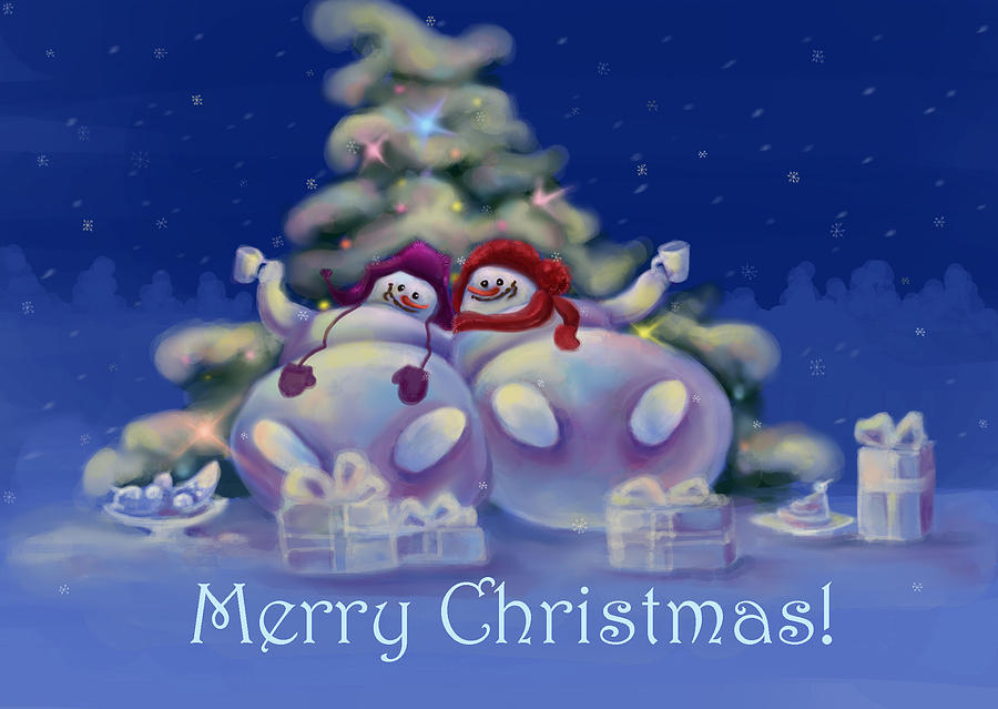 Snowmen Digital Art - Have A Merry Christmas by Anastasia Michaels