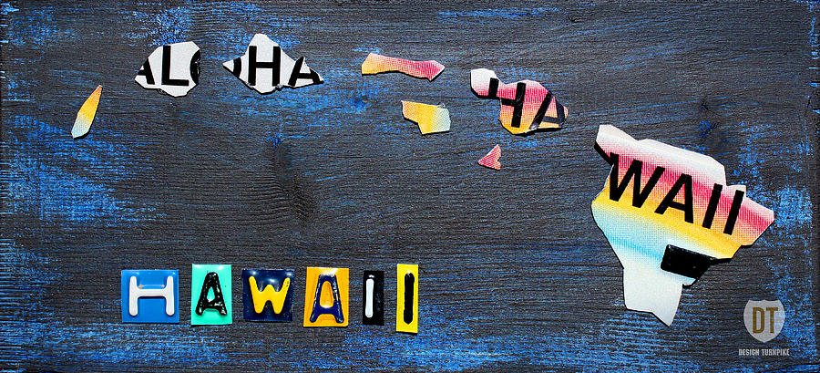 Hawaii License Plate Map Mixed Media By Design Turnpike