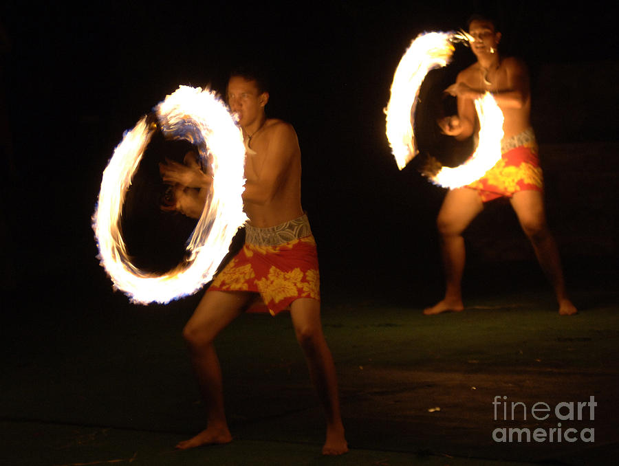 Hawaii Photograph - Hawaiian Fire Dancers by Bob Christopher