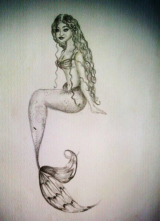Hawaiian Mermaid Drawing By Kammy Hodges