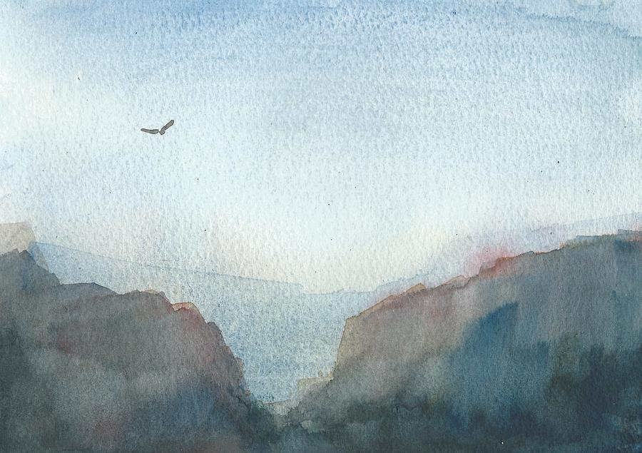 Watercolour Landscape Painting - Hawk Above The Red Cliffs by Alan Daysh
