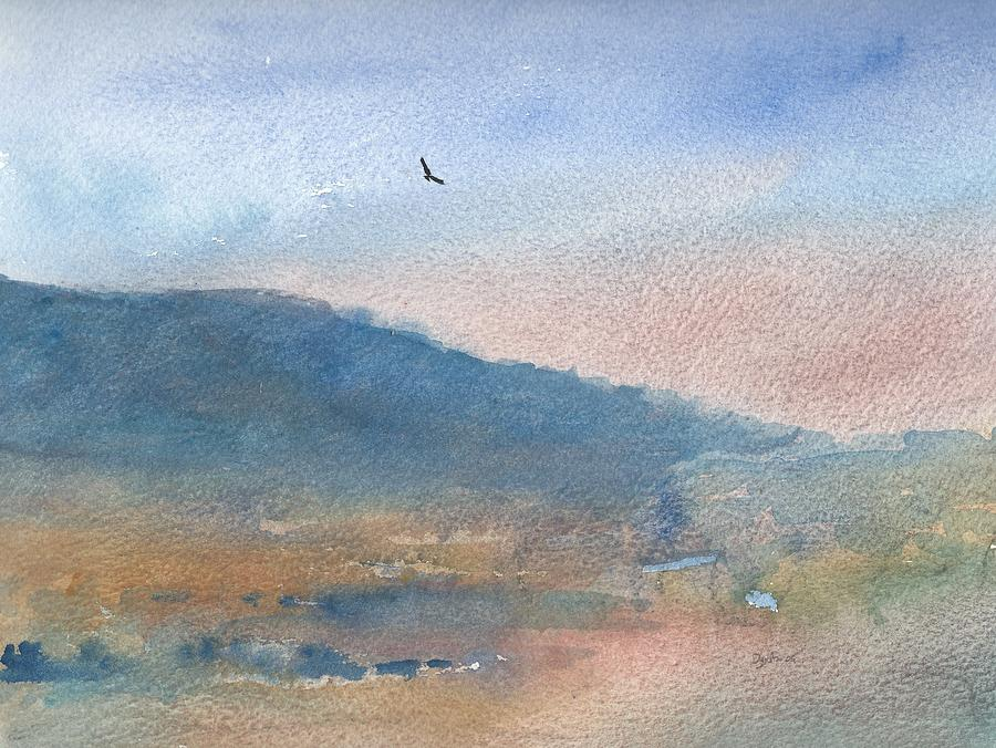 Watercolour Landscape Painting - Hawk At Sunset Over Stenbury Down by Alan Daysh