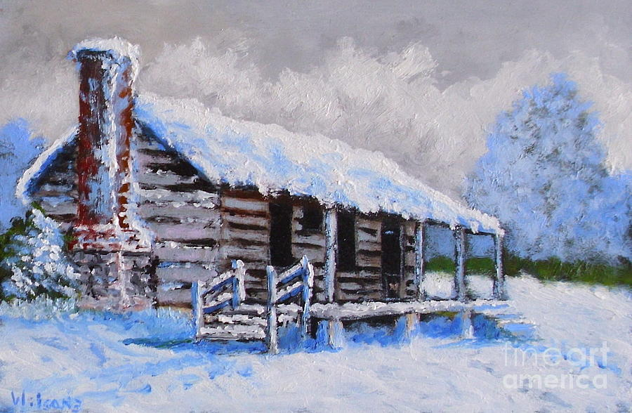 Hawkeye Cabin In Winter Painting By Fred Wilson