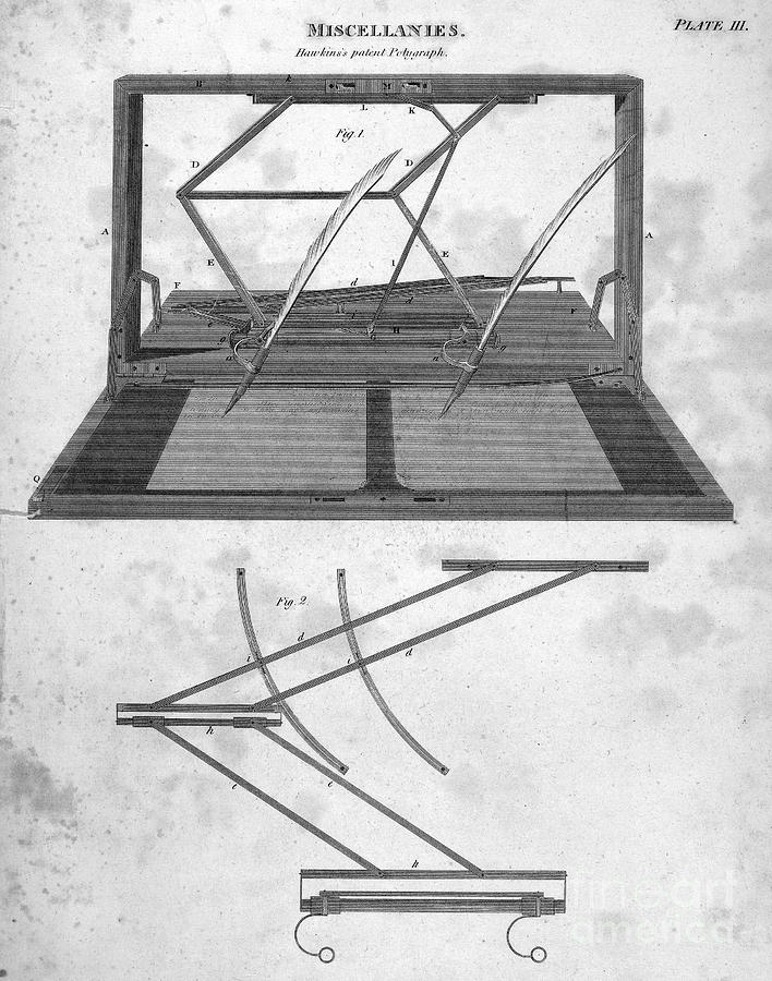 1803 Photograph - Hawkins Polygraph, 1803 by Granger