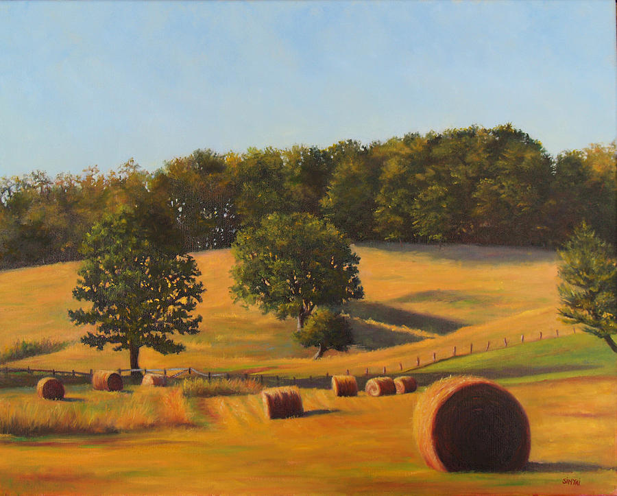 Oil Painting Painting - Hay Is Done by Susan Sinyai