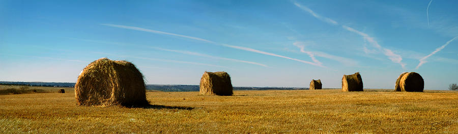 Haybales Photograph - Haybales And Jet Trails by Rod Seel
