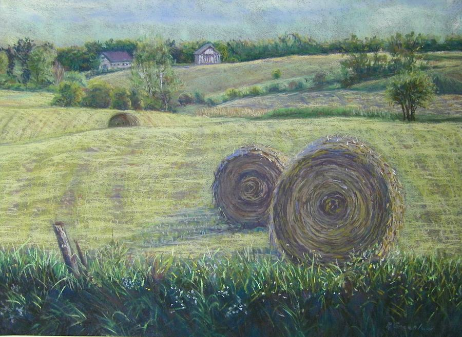 Landscape Pastel - Haybales Durham County by Ruth Greenlaw