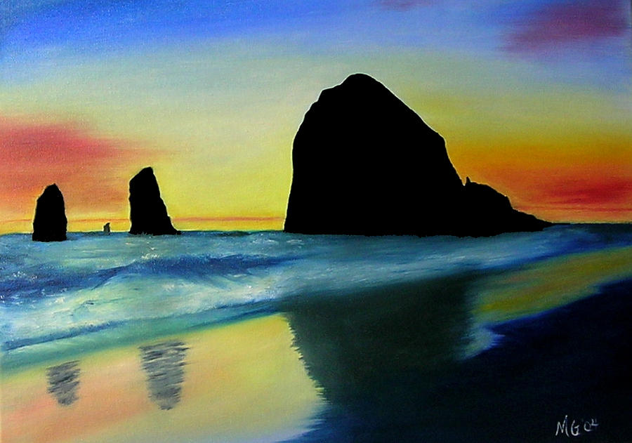 Oregon Coast Painting - Haystack Shadows  by Mary Gaines