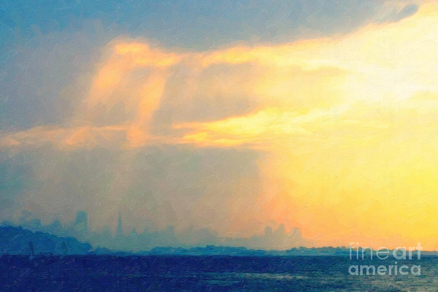 San Francisco Photograph - Hazy Light Over San Francisco by Wingsdomain Art and Photography