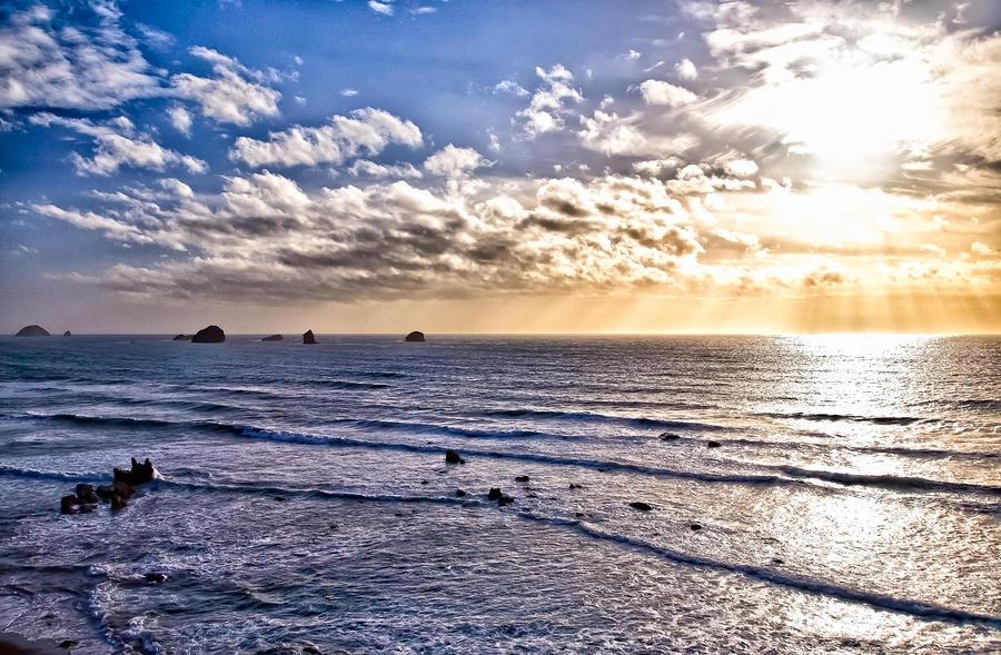 Hdr Ocean Sunest Photograph