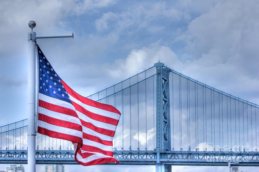 Hdr Usa American Flag Symbolic Bridge Scenic Patriotic