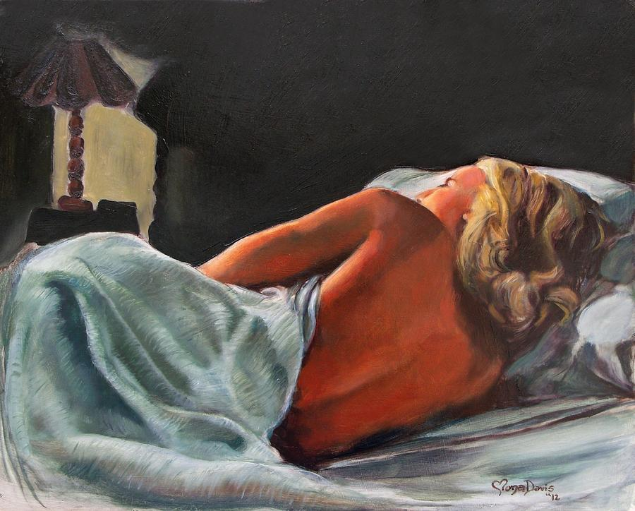 Woman Painting - He Snuck Out Of Bed by Mona Davis