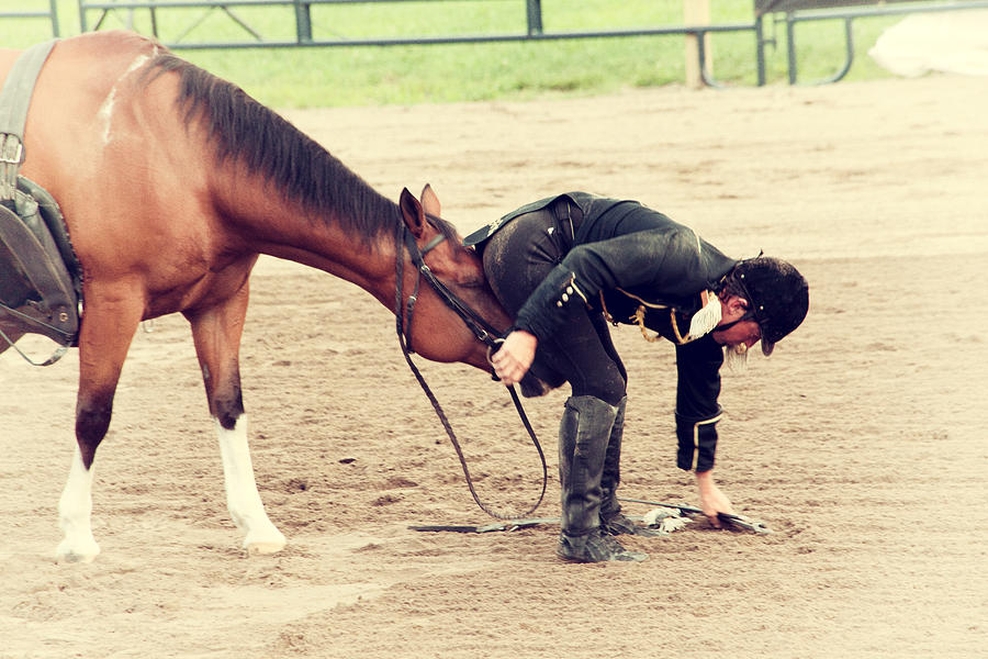 Horse And Rider Photograph - Head Butted by Karol Livote