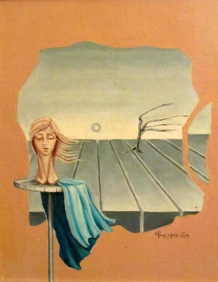 Head Painting - Head In Wind Surrealistic Frame Boards Tree And Hair Waving In Wind Beige Blue Grey by Rachel Hershkovitz