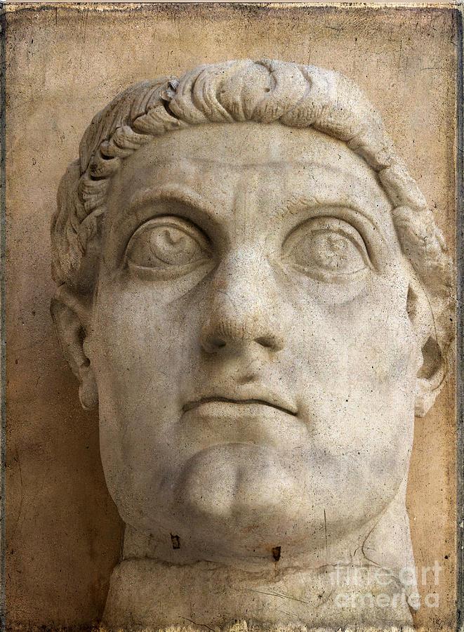 Texture Photograph - Head Of Emperor Constantine. Rome. Italy by Bernard Jaubert